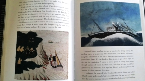 "Left: ""Rescue By Breaches Buoy"" embroidery detail. Right: A grey trawler listing among the swelling waves of a grey sea. Pages 96 and 97 in ""Threads."""
