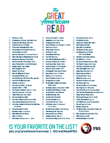 Great American Read Booklist