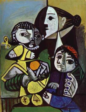 Francoise, Claude and Paloma 1951 by Picasso